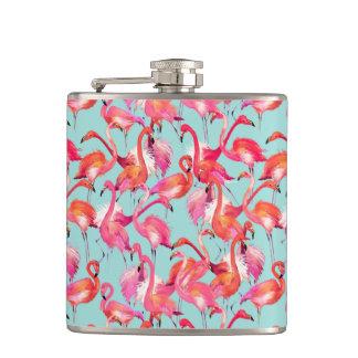 Watercolor Flamingos Gathered Flasks