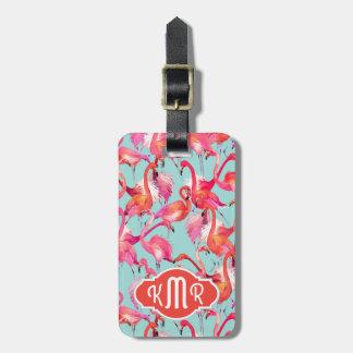 Watercolor Flamingos Gathered | Monogram Luggage Tag