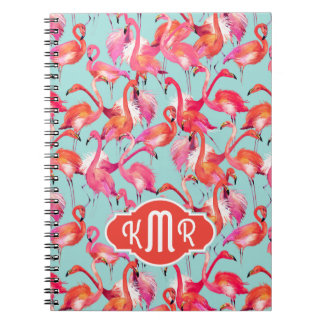 Watercolor Flamingos Gathered | Monogram Notebooks