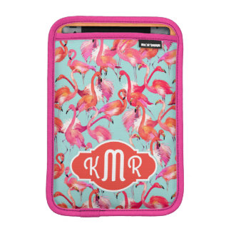 Watercolor Flamingos Gathered | Monogram Sleeve For iPad Mini