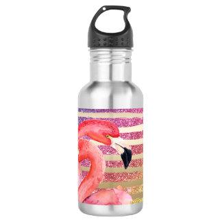Watercolor Flamingos Glitter Gold Stripes 532 Ml Water Bottle