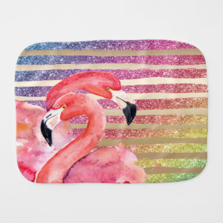 Watercolor Flamingos Glitter Gold Stripes Baby Burp Cloth