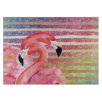 Watercolor Flamingos Glitter Gold Stripes Cutting Board