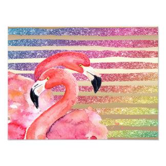 Watercolor Flamingos Glitter Gold Stripes Photo Print