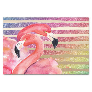 Watercolor Flamingos Glitter Gold Stripes Tissue Paper