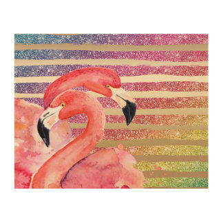 Watercolor Flamingos Glitter Gold Stripes Wood Print