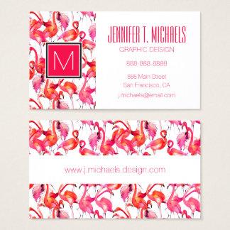 Watercolor Flamingos In Watercolors | Monogram Business Card