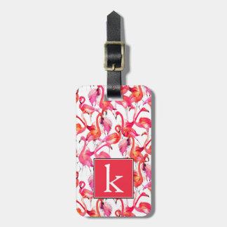 Watercolor Flamingos In Watercolors | Monogram Luggage Tag