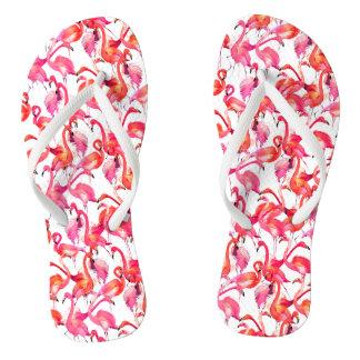 Watercolor Flamingos In Watercolors Thongs