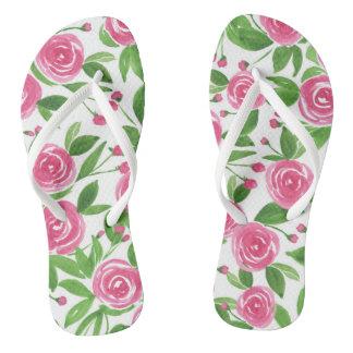 Watercolor Flip Flops - Sweet Roses Thongs