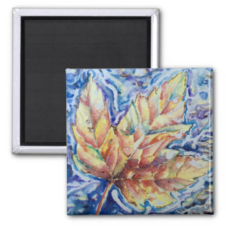 Watercolor Floating Fall Leaf Custom Magnet