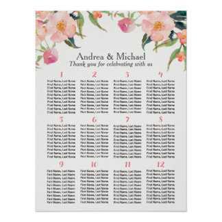 Watercolor Floral 12 Tables Wedding Seating Chart