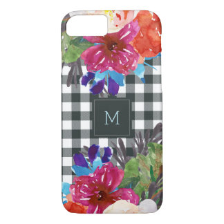 Watercolor Floral and Black Gingham with Monogram iPhone 8/7 Case