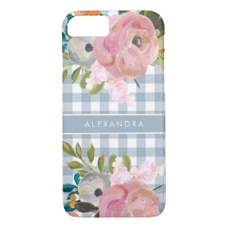 Watercolor Floral and Blue Gingham with Name iPhone 8/7 Case