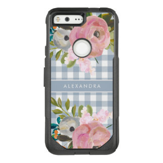 Watercolor Floral and Blue Gingham with Name OtterBox Commuter Google Pixel Case