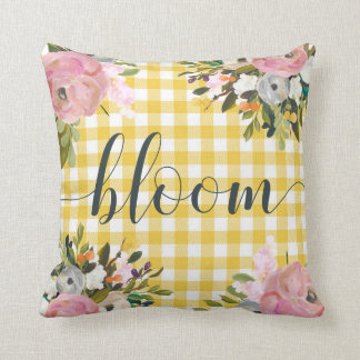 Watercolor Floral and Yellow Gingham | Bloom Cushion