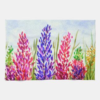 Watercolor Floral Art Lupine Wildflowers Purple Tea Towel