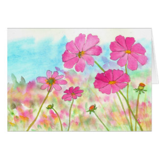 Watercolor Floral Art Pink Cosmos Wildflowers Card