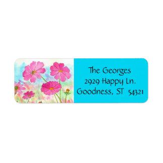 Watercolor Floral Art Pink Cosmos Wildflowers Return Address Label