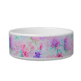 Watercolor floral aster painting pattern bowl