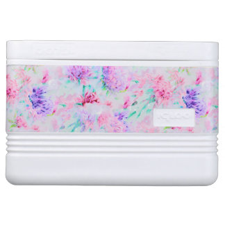 Watercolor floral aster painting pattern cooler