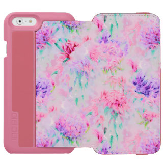 Watercolor floral aster painting pattern incipio watson™ iPhone 6 wallet case