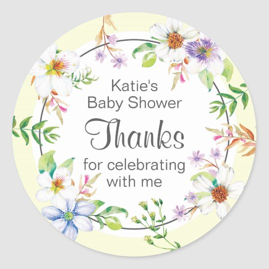 watercolor floral Baby Shower Classic Round Sticker