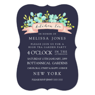 Watercolor Floral Banner Kitchen Tea Invite