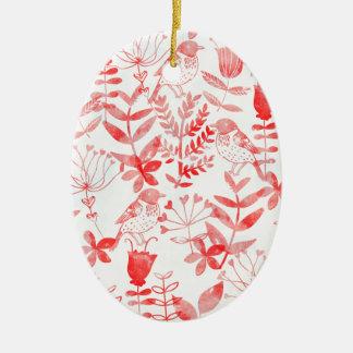 watercolor floral & birds ceramic oval decoration