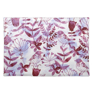 watercolor floral & birds II Place Mat