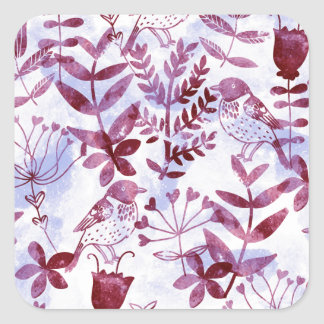 watercolor floral & birds II Square Sticker
