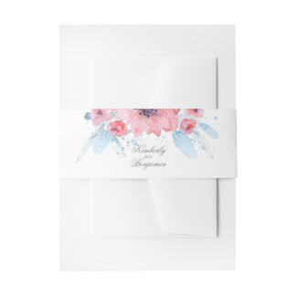 Watercolor Floral Blue Pink Wedding Invitation Belly Band