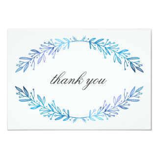 Watercolor Floral Blue & Purple Thank You Card