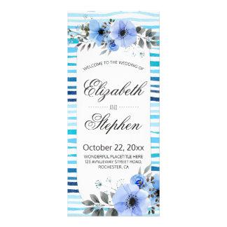 Watercolor Floral Blue Stripes Wedding Program Rack Card