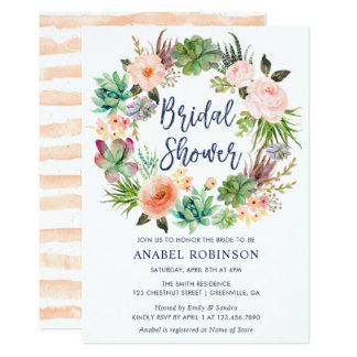 Watercolor Floral Bohemian Wreath Bridal Shower Card