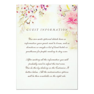 Watercolor Floral Boho Vintage Wedding Insert Card 11 Cm X 16 Cm Invitation Card