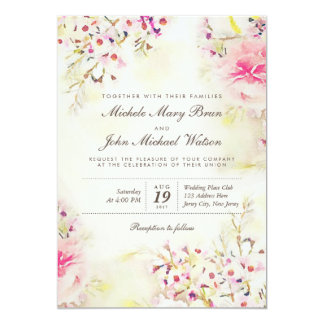 Watercolor Floral Boho Vintage Wedding Invitation