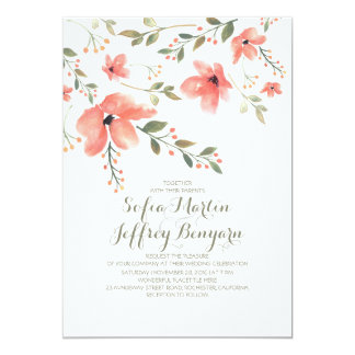 Watercolor Floral Botanical Wedding Invitations