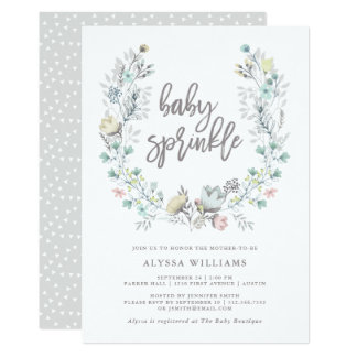 Watercolor Floral Botanical Wreath | Baby Sprinkle Card