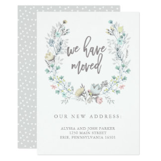 Watercolor Floral Botanical Wreath | New Address Card