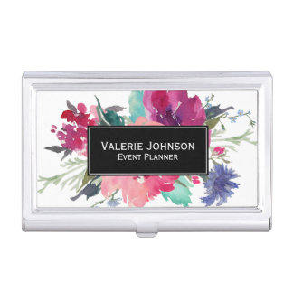 Watercolor Floral Bouquet Business Card Holder