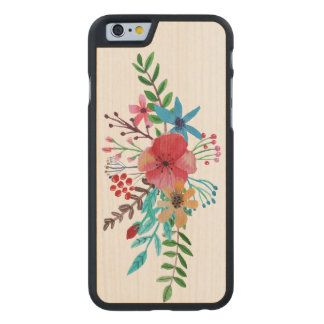 Watercolor Floral Bouquet Carved® Maple iPhone 6 Case