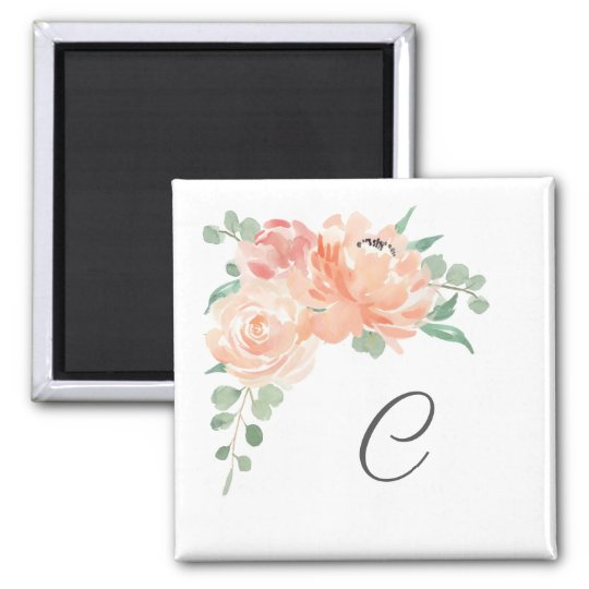 Watercolor Floral Bouquet with Your Monogram Magnet
