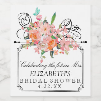 Watercolor Floral Bridal Shower Wine Bottle Label