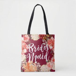 Watercolor Floral Bridesmaid Burgundy Tote Bag