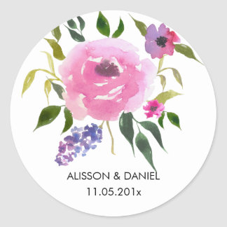 Watercolor Floral Bunch Wedding Chic Classic Round Sticker