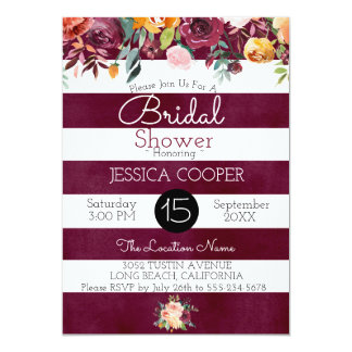 Watercolor Floral Burgundy Stripe Bridal Shower Card