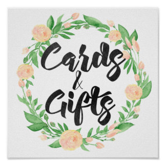 Watercolor Floral Cards & Gifts Sign