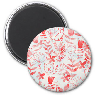 Watercolor Floral & Cats 6 Cm Round Magnet