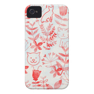 Watercolor Floral & Cats iPhone 4 Case-Mate Cases